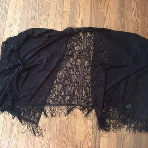 Black Lace Fringed Kimono/Shawl
